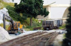 Escavatore e carri